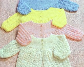 SALE 50 PENCE Vintage Knitting Pattern PDF Baby Matinee Coats Cardigan Jacket Angel Top Four Designs 3ply Yarn
