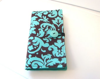 Loyalty Card Organizer, Gift Card, Business Card Holder, 12 Credit Card Holder Wallet  - Brown with Turquoise