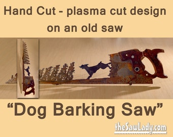 Metal Art Dog Barking up a Tree - Hand (plasma) cut Hand Saw | Wall Decor | Garden Art | Recycled Art | Repurposed  - Made to Order for dogs