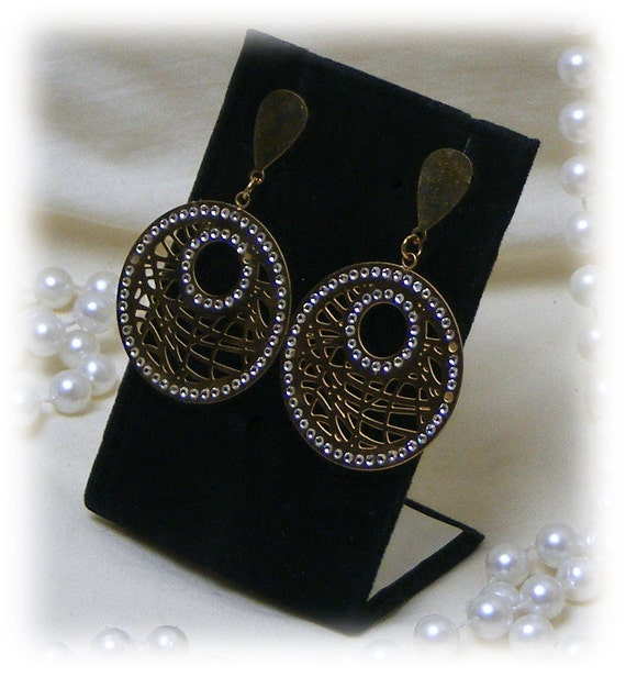 RHINESTONE EMBELLISHED DANGLES . . . gold plated & stainless