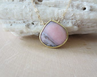 Rhodochrosite pendant gold necklace, pink gemstone gold filled necklace, Rhodochrosite teardrop gold necklace