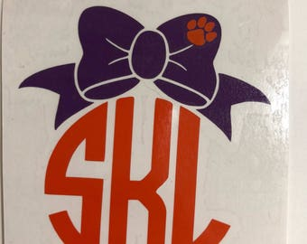 Clemson monogram, bow decal, monogram decal, car decal, clemson decal, tumbler decal, yeti decal, laptop decal, clipboard decal, cup decal