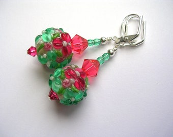 Peach and Mint Rose Earrings Lampwork Earrings Padparadscha Swarovski Crystals  Leverback Hooks Silver Wire Wrapped Flower Earrings
