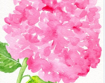 Pink Hydrangeas original watercolor painting, 5x 7 hydrangea floral art, pink hydrangea painting, Farmhouse decor