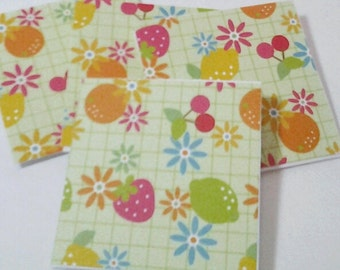 16 Mini Cards or Gift Tags, Flowers and Fruit, Handmade 2in x 2in Folded Gift Tags or Small Cards