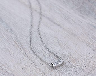 925 BAGUETTE-silver necklace, zirconia necklace, glossy
