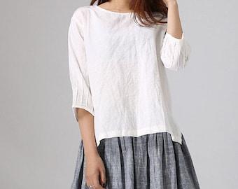 Linen top, Loose Linen blouse, loose top, summer top for women , plus size top, white linen shirt, oversized top, womens linen top 77711