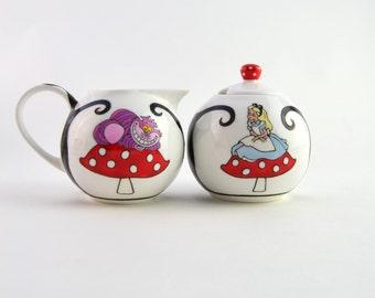 Alice in Wonderland Milk Jug and Sugar Bowl