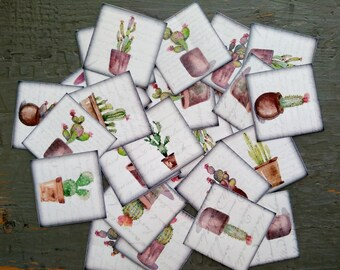 """25 Cactus Stickers, 1.5"""" or 2"""" squares, Cacti Labels, Vintage Inspired stickers, succulent stickers, planner stickers, eco recycled stickers"""