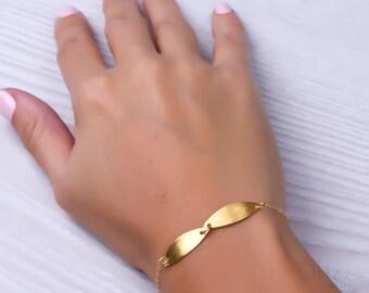 """Gold bracelet, gold leaf bracelet, gold filled bracelet, simple bracelet, bridesmaid bracelet, bridesmaid gift, everyday bracelet, """"Agaue"""""""