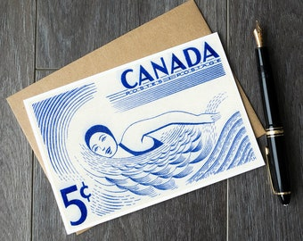 Swimmer birthday cards, swimmer gift ideas, swimming gifts, canada cottage life, canadian summer greeting cards, swimming party invitations