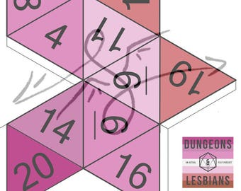 Dungeons and Lesbians special papercraft d20 pdf template