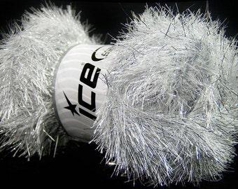 Large 100 gram skein Silver White Eyelash Dazzle Ice Silver White Metallic Eyelash Yarn 42256-37128