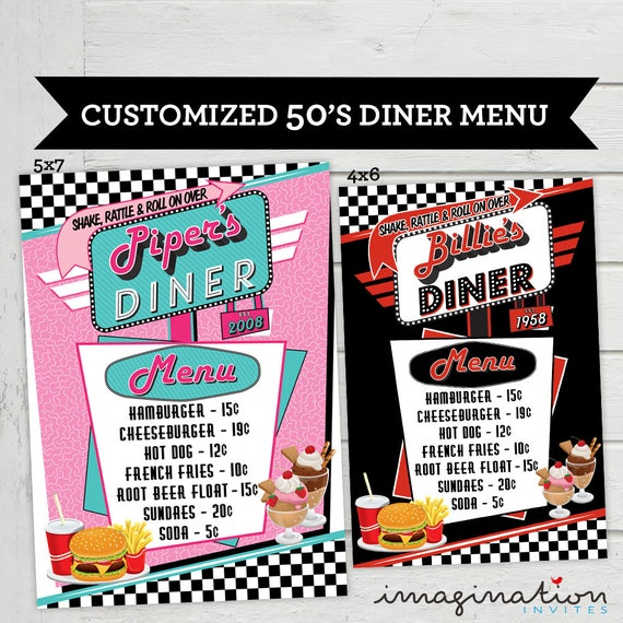 50s Diner Menu Cards Vintage Food List Card Retro Birthday Party 1950s Fiftes Customized Digital File Supplied