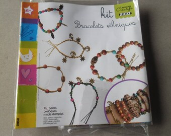 """x 1 complete kit for ethnic bracelet """"threads, beads, charms, manual"""""""