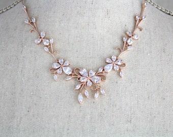 Rose gold necklace set Bridal jewelry set Bridesmaid