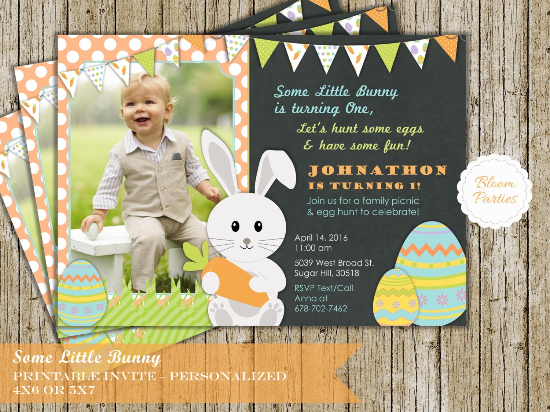 Bunny Birthday Invitation Some Bunny Easter 1st Birthday First