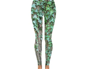 Ivy leggings oak tree nature photo leaves all sizes capri and full length alternative clothing unique printed leggings green ivy unusual
