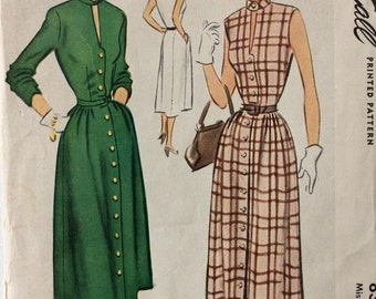 McCall 8340 misses button-front dress size 14 bust 32 vintage 1950's sewing pattern Uncut  Factory folds