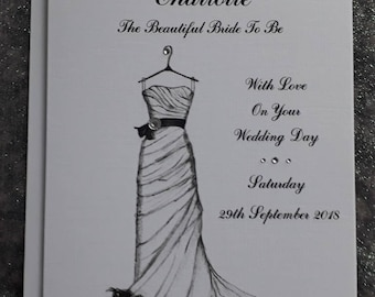Handmade Personalised A5 Card To The Bride To Be Wedding Card Hand Drawn Design