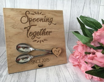 Personalised spooning together since wooden plaque engraved - wooden anniversary gift - gift for her - gift for him - couple gift - wedding