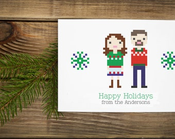 Custom Illustrated Family Christmas Holiday Card in Pixel Art Style (Digital File)