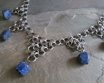 Chainmaille Necklace - Stainless Steel - Japanese Weave - Lapis Lazuli - Chainmail Necklace - Chainmaille Jewelry - Lapis Gemstone Choker