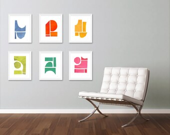 Art Print Set, Large Wall Art, Colorful Art, Abstract Art Print, Abstract Art, Set of 6 Prints
