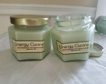 Energy Cleanse Aromatherapy Candle, Aura cleanse candle, essential oil candle, lemongrass candle, eucalyptus candle, basil candle
