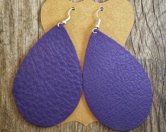 Large Purple Teardrop Leather Earrings