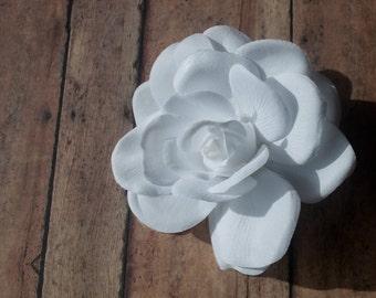 Soft White Rose Ponytail Holder