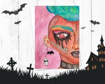 Punk Girl Post Card - Creepy Cute - Gothic Card - Punk Art Card - Bats - Black Lip Stick - Women WIth Colorful Hair - Printable Art - Decor