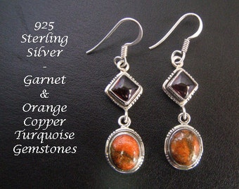 Silver Earrings: 925 Sterling Silver Earrings with Garnet and Orange Copper Turquoise Gemstones | Silver Drop Earrings, Dangle Earrings 066