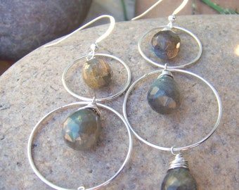 Labradorite Earrings - Sterling Silver Hoop Earrings - Dangle Earrings - Handmade