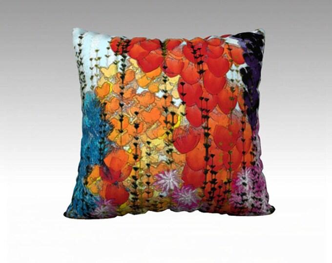 Flower Garden Pillow, Multicolored 22x22 pillow cover, Garden Throw Pillow, Pillow Cover, Sofa Pillows, Decorative Pillow, Couch Pillow