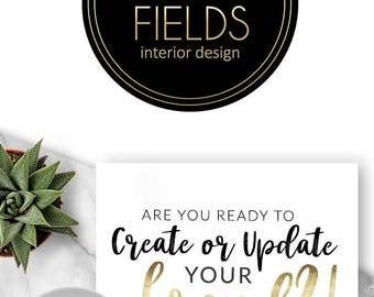 219 - Alexia Fields,  LOGO Premade Logo Design, Branding, Blog Header, Blog Title, Business, Boutique, Custom, Modern, Black, Gold, Circle