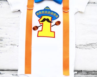 Boy Cinco De Mayo Theme tie Suspenders set Boy Cake Smash Boy first year outfit boy Fiesta birthday Boy first birthday Boy Second Mexican
