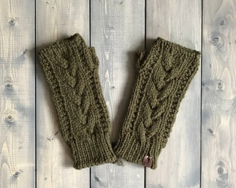 Adult 'Trinity' Knit Fingerless Gloves - Forest green