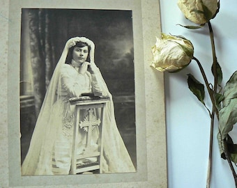 old Photo - girl - first communion .