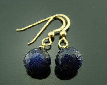 Midnight Blue Sapphire 14K Gold Earrings