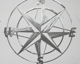 Metal Compass Rose Nautical Wall Art/ Metal Wall Art - Aluminum Compass Rose - Will Not Rust Like Steel - Metal Nautical Decor - Map Compass