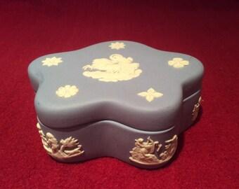 Wedgwood Blue Jasperware Trinket box with lid