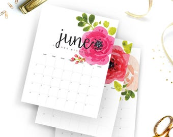 Printable 2018 Monthly Calendar - Printable Calendar - Watercolor floral Planner - Watercolor Calendar - Instant Download - Print at home