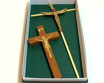 Two Vintage Crucifixes Catholic Christian Crosses