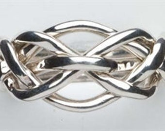 Ladies Five Band Puzzle Ring 5Q in Sterling Silver or Gold