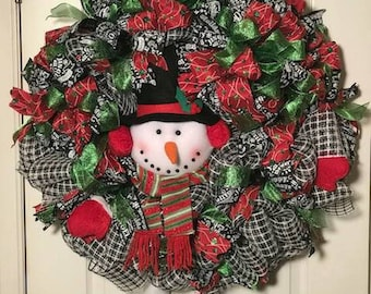 Christmas Red and White Snowman Wreath,Front door wreath, Snowman Wreath,Deco mesh wreath,Top hat wreath,Frosty wreath,Festive wreath,wreath