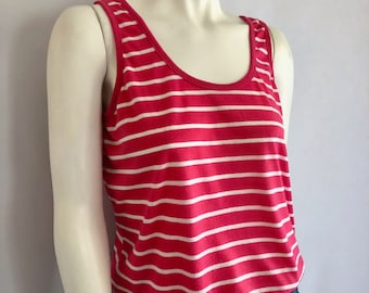 Vintage Women's 80's Pink, Striped, Tank Top by Classic Fashions (L)