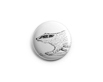 "Badger button -  1.25"" Pinback Button, Magnet, or Flair, , animal button, badger badge, badger pin, badger gift, badger fridge magnet"