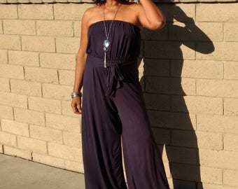 Strapless Knit Jumpsuit,  Wide Leg Jumpsuit, Slouchy Jersey Jumpsuit Romper ~ All Sizes / Colors