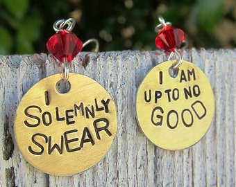 Harry Potter Quote - I solemnly swear - Hand Stamped Earrings